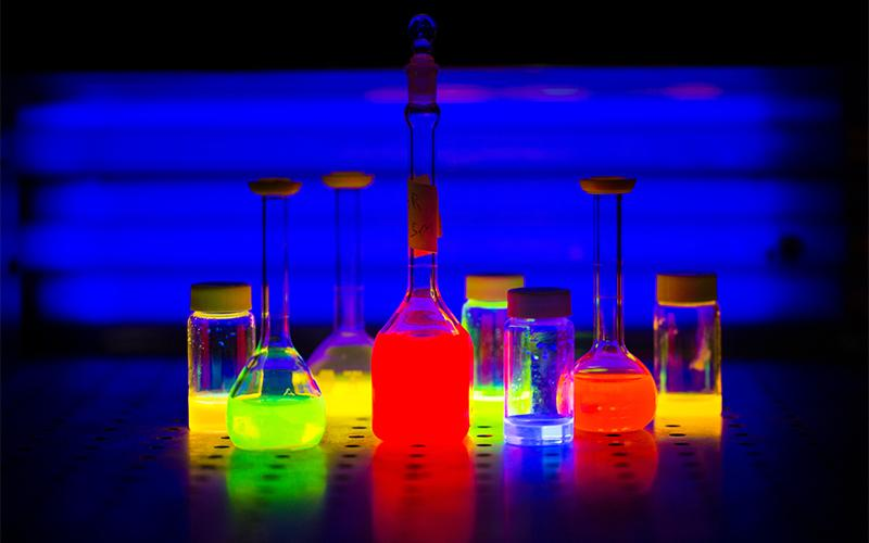 A collection of fluorescent liquids