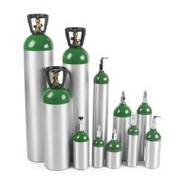 green and silver gas canisters of various sizes