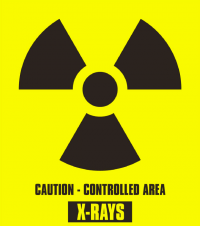 "Xray warning symbol, with ""Caution - Controlled Area X-Rays"" below"